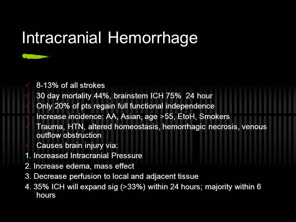 Intracranial Hemorrhage 8-13% of all strokes 30 day mortality 44%, brainstem ICH 75% 24 hour Only 20% of pts regain full functional independence Incre