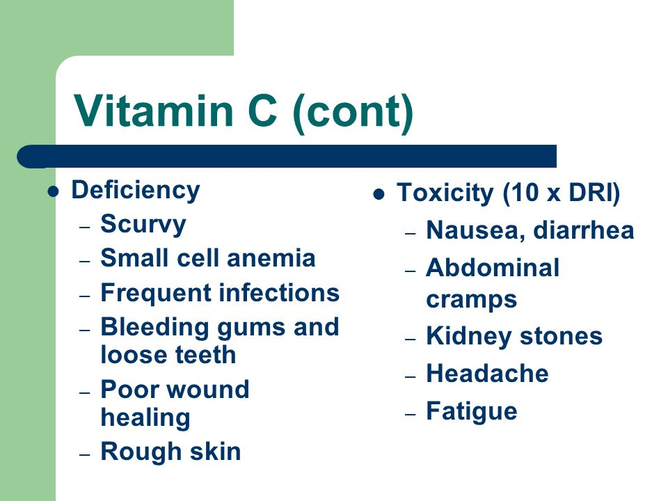 Vitamin C (cont) Deficiency – Scurvy – Small cell anemia – Frequent infections – Bleeding gums and loose teeth – Poor wound healing – Rough skin Toxicity (10 x DRI) – Nausea, diarrhea – Abdominal cramps – Kidney stones – Headache – Fatigue