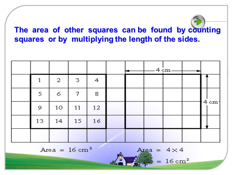 The area of a square with sides of length 1cm is 1cm².