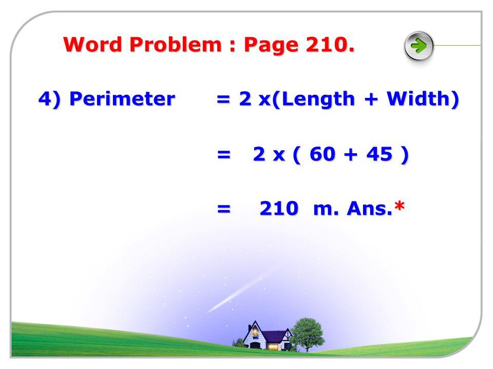 3 ) Area = Length x Length 225 = 15 x 15 225 = 15 x 15 Length = 15 cm.Ans.
