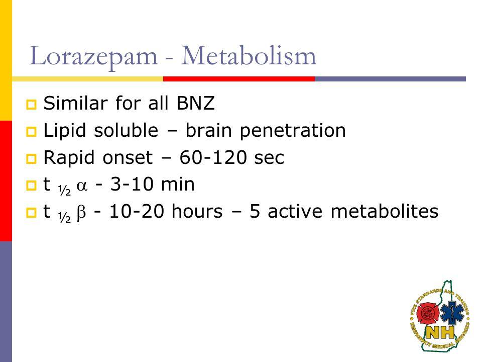 Lorazepam - Metabolism  Similar for all BNZ  Lipid soluble – brain penetration  Rapid onset – 60-120 sec  t ½  - 3-10 min  t ½  - 10-20 hours – 5 active metabolites