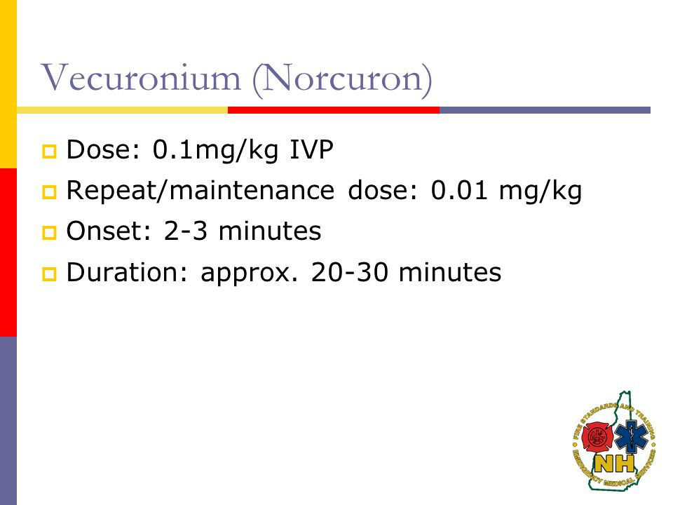Vecuronium (Norcuron)  Dose: 0.1mg/kg IVP  Repeat/maintenance dose: 0.01 mg/kg  Onset: 2-3 minutes  Duration: approx.