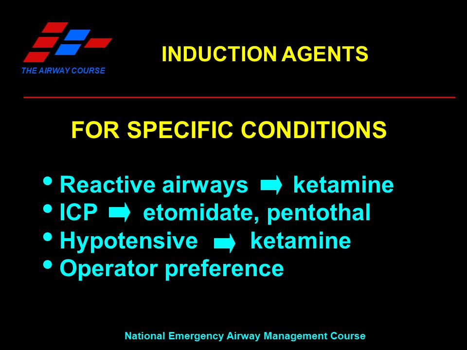 THE AIRWAY COURSE National Emergency Airway Management Course INDUCTION AGENTS FOR SPECIFIC CONDITIONS  Reactive airways ketamine  ICP etomidate, pe