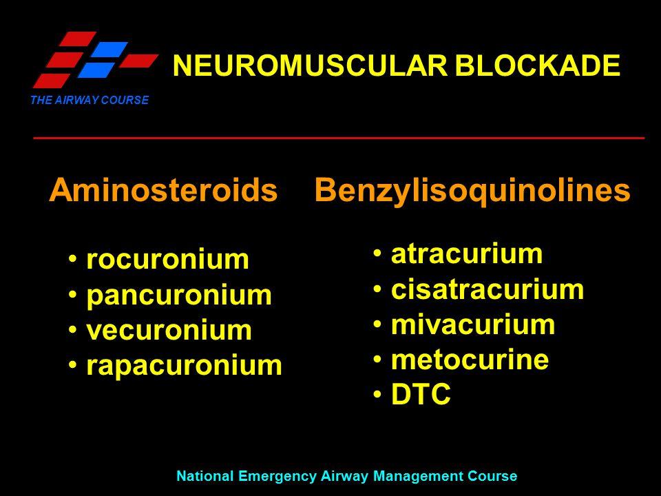 THE AIRWAY COURSE National Emergency Airway Management Course NEUROMUSCULAR BLOCKADE AminosteroidsBenzylisoquinolines atracurium cisatracurium mivacurium metocurine DTC rocuronium pancuronium vecuronium rapacuronium