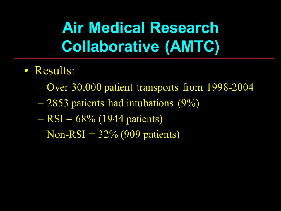 Results: –Over 30,000 patient transports from 1998-2004 –2853 patients had intubations (9%) –RSI = 68% (1944 patients) –Non-RSI = 32% (909 patients) A