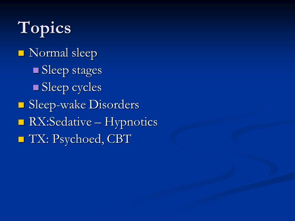 Topics Normal sleep Normal sleep Sleep stages Sleep stages Sleep cycles Sleep cycles Sleep-wake Disorders Sleep-wake Disorders RX:Sedative – Hypnotics RX:Sedative – Hypnotics TX: Psychoed, CBT TX: Psychoed, CBT