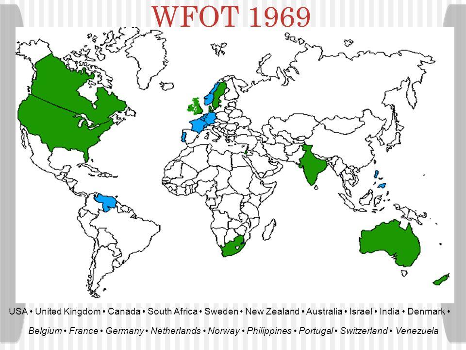 USA United Kingdom Canada South Africa Sweden New Zealand Australia Israel India Denmark WFOT 1952