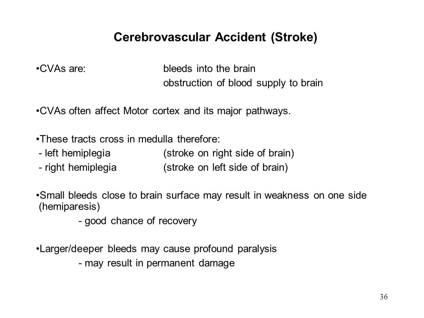 36 Cerebrovascular Accident (Stroke) CVAs are:bleeds into the brain obstruction of blood supply to brain CVAs often affect Motor cortex and its major