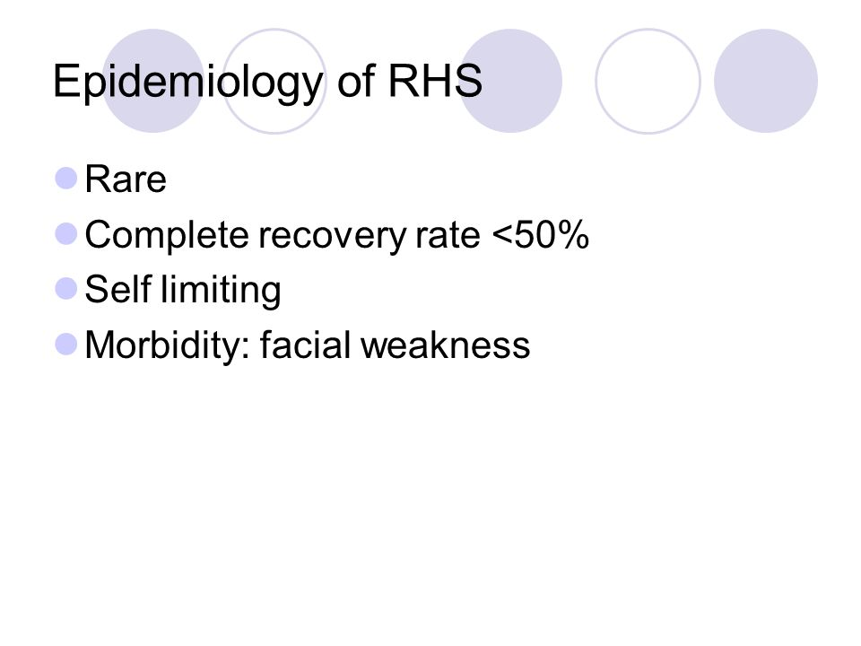 Epidemiology of RHS Rare Complete recovery rate <50% Self limiting Morbidity: facial weakness