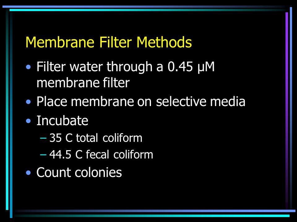 Membrane Filter Methods Filter water through a 0.45 μM membrane filter Place membrane on selective media Incubate –35 C total coliform –44.5 C fecal c