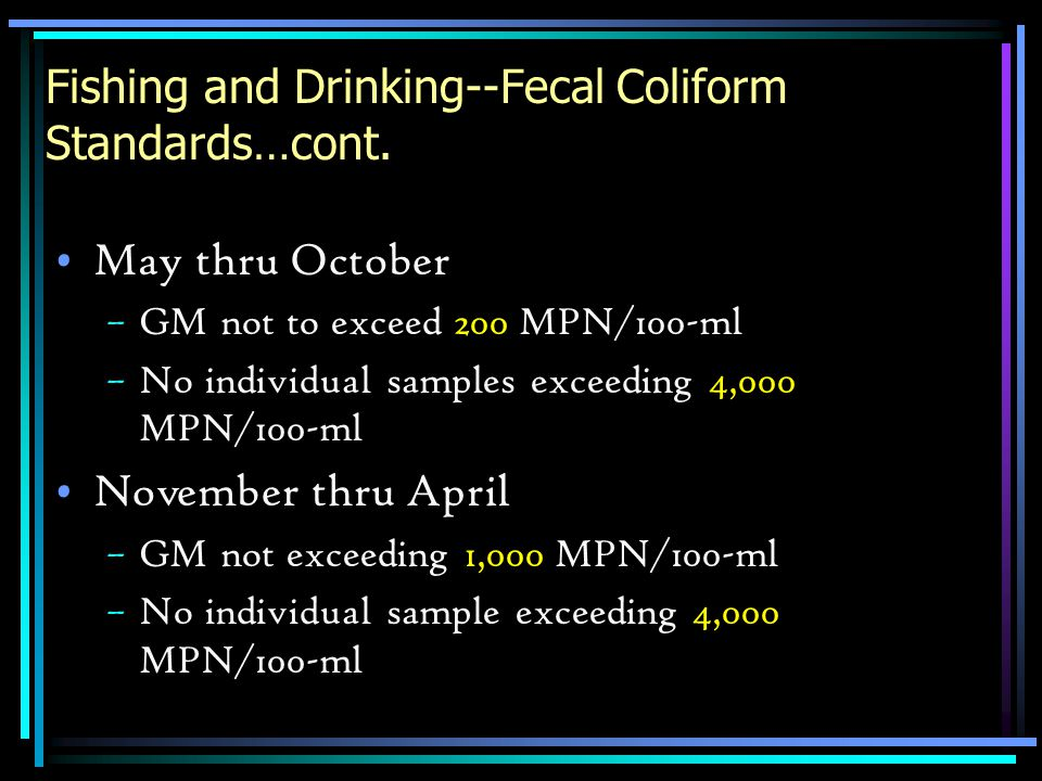 Fishing and Drinking--Fecal Coliform Standards…cont. May thru October –GM not to exceed 200 MPN/100-ml –No individual samples exceeding 4,000 MPN/100-