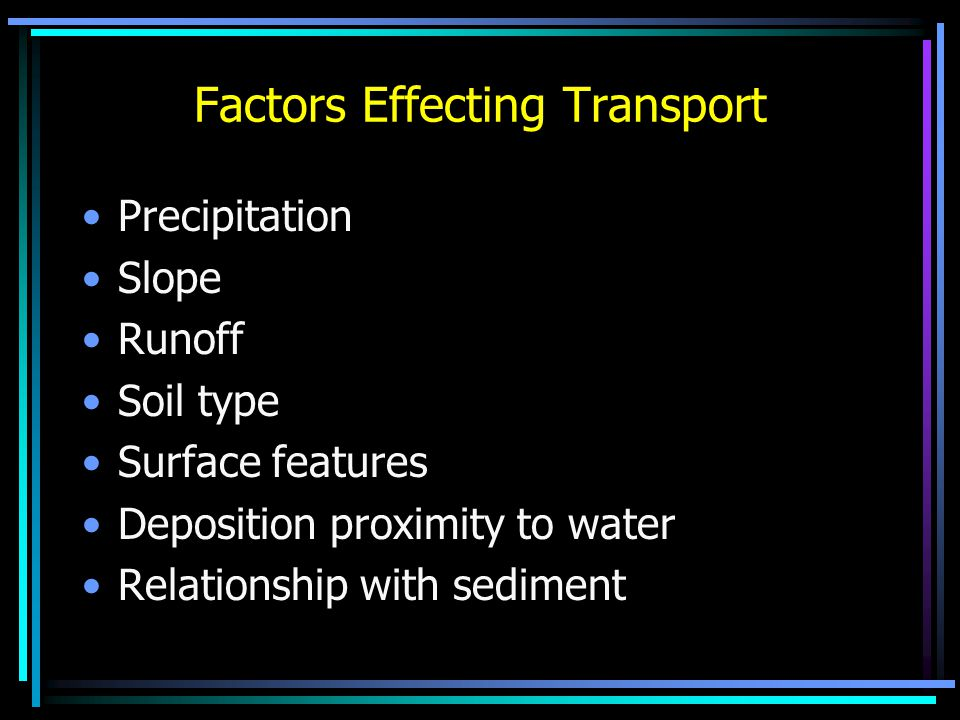 Factors Effecting Transport Precipitation Slope Runoff Soil type Surface features Deposition proximity to water Relationship with sediment