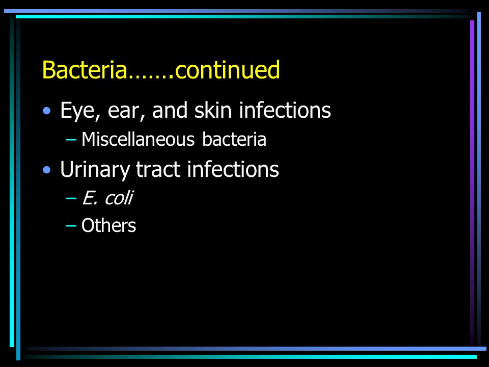 Bacteria…….continued Eye, ear, and skin infections –Miscellaneous bacteria Urinary tract infections –E.