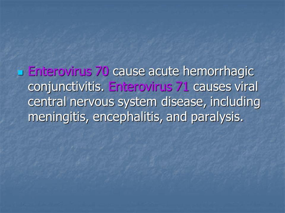 Enterovirus 70 cause acute hemorrhagic conjunctivitis.
