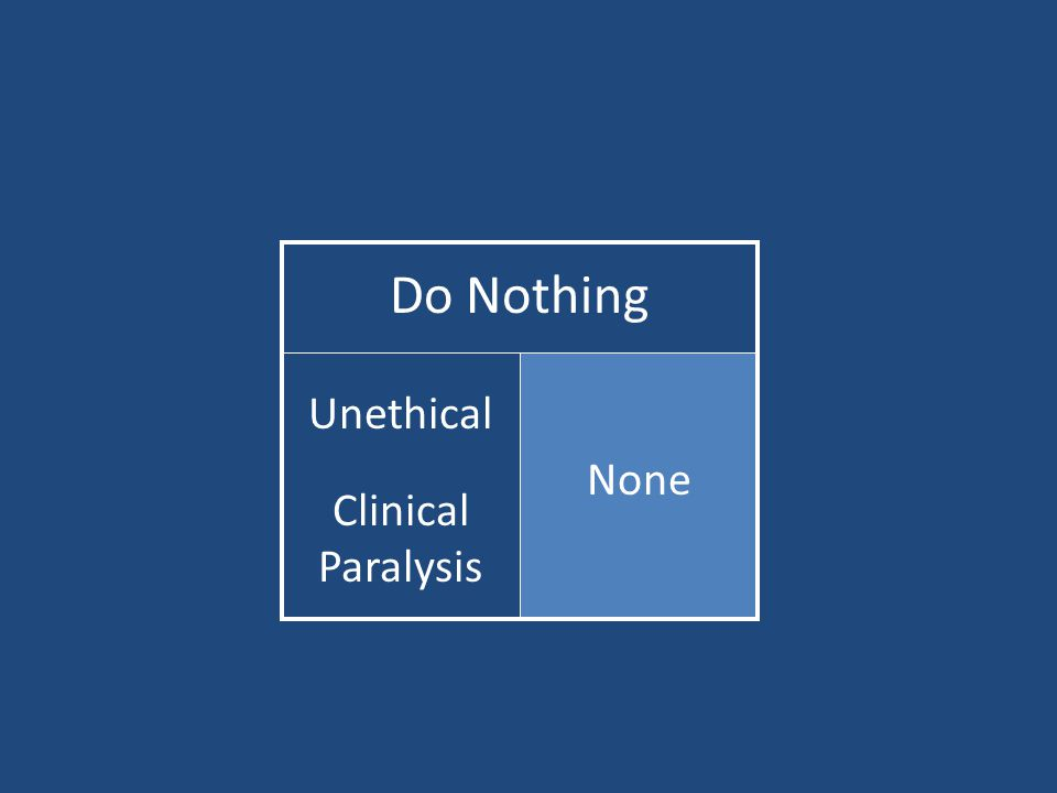 Do Nothing None Unethical Clinical Paralysis