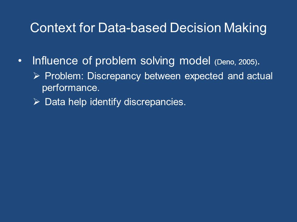 Context for Data-based Decision Making Influence of problem solving model (Deno, 2005).