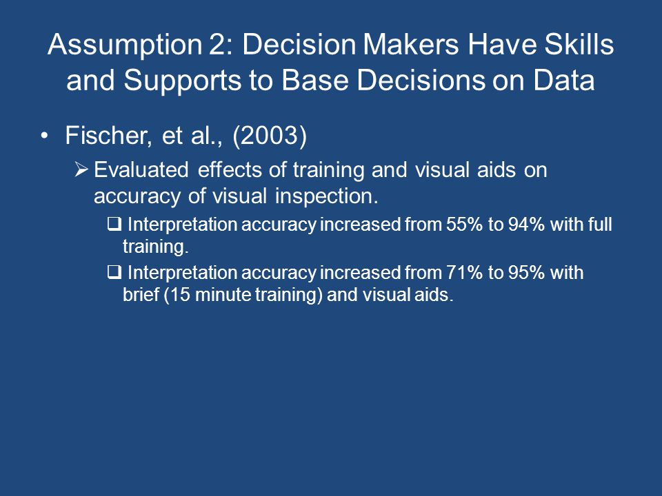 Assumption 2: Decision Makers Have Skills and Supports to Base Decisions on Data Fischer, et al., (2003)  Evaluated effects of training and visual aids on accuracy of visual inspection.