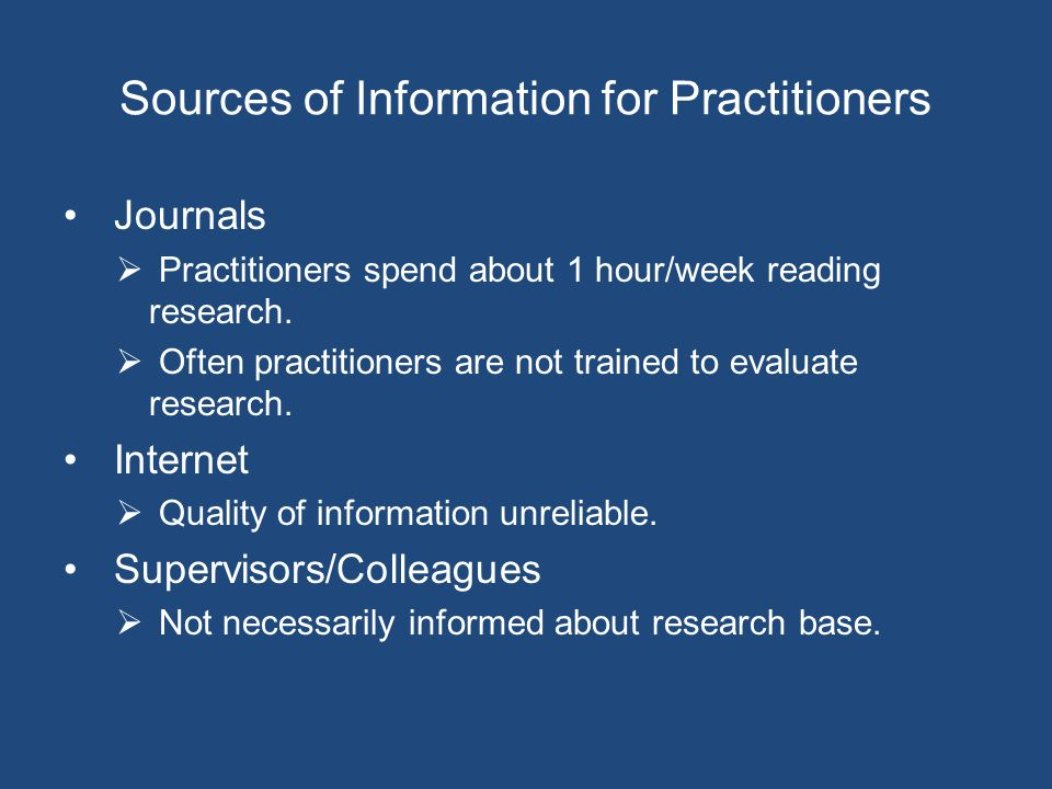 Sources of Information for Practitioners Journals  Practitioners spend about 1 hour/week reading research.