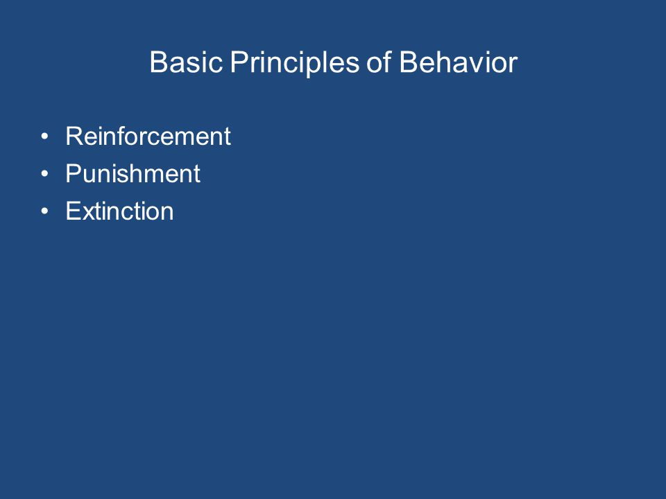 Basic Principles of Behavior Reinforcement Punishment Extinction