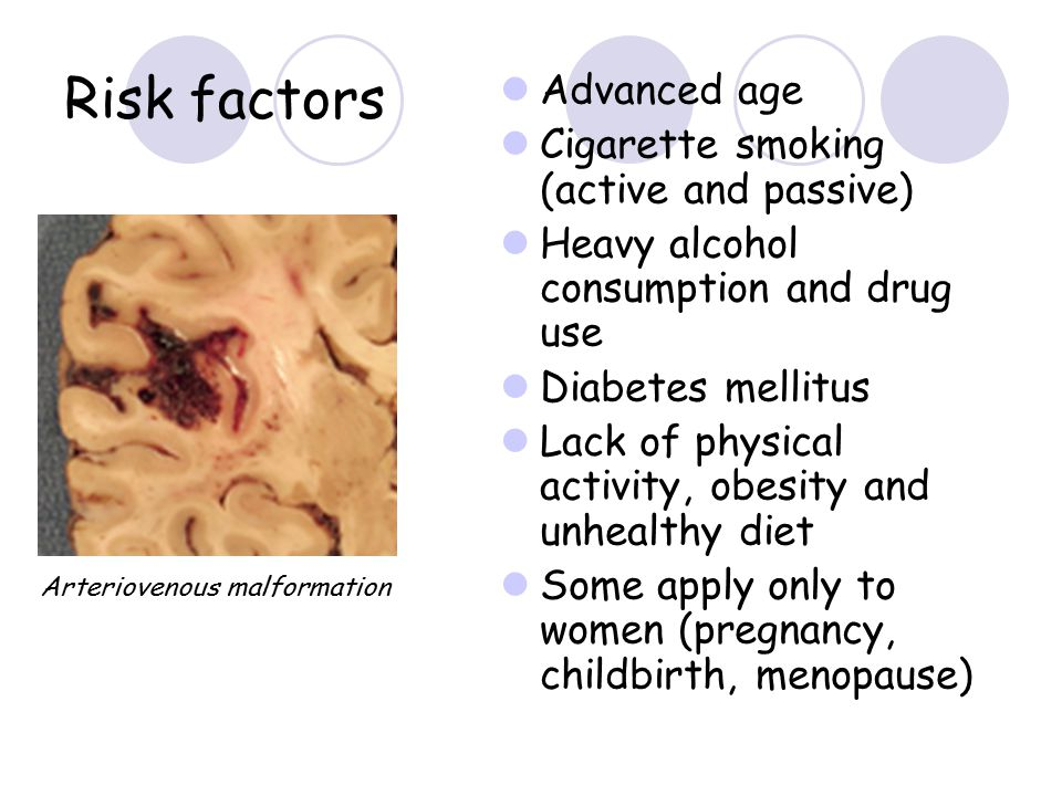 Risk factors Advanced age Cigarette smoking (active and passive) Heavy alcohol consumption and drug use Diabetes mellitus Lack of physical activity, o