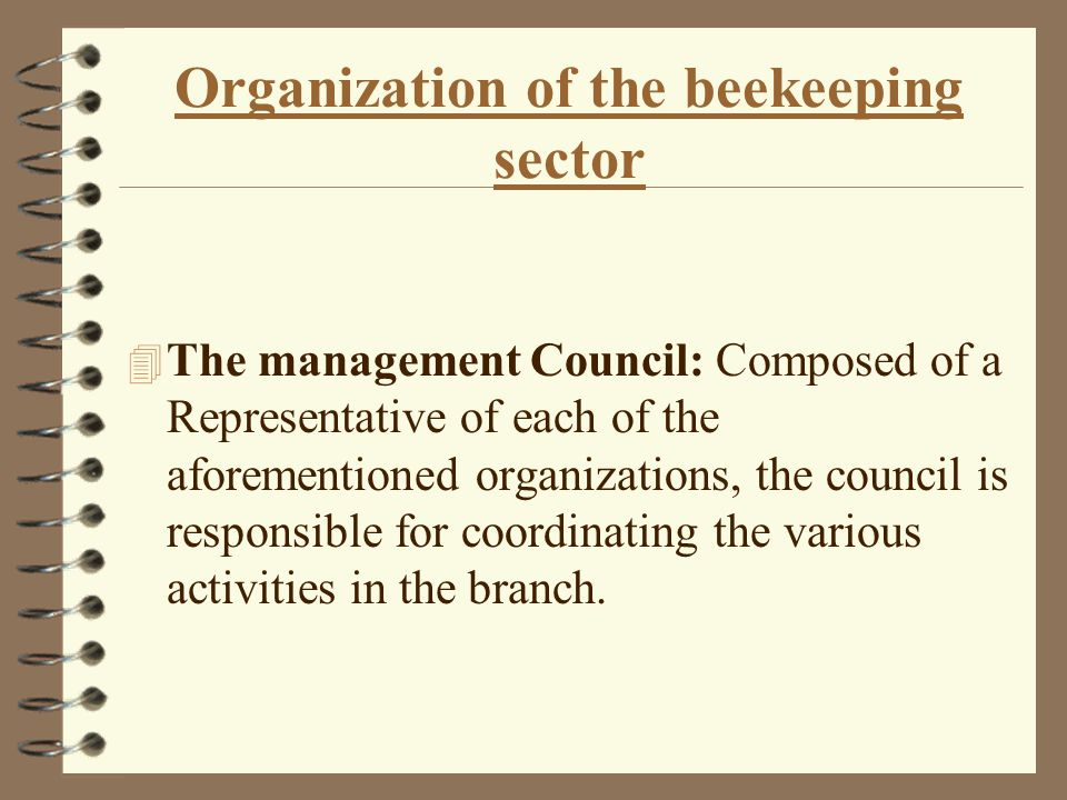 Organization of the beekeeping sector 4 The Israeli Honey Board: Responsible for the registration of beekeepers, the distribution of pastures and crops, and supervision of honey marketing channels.