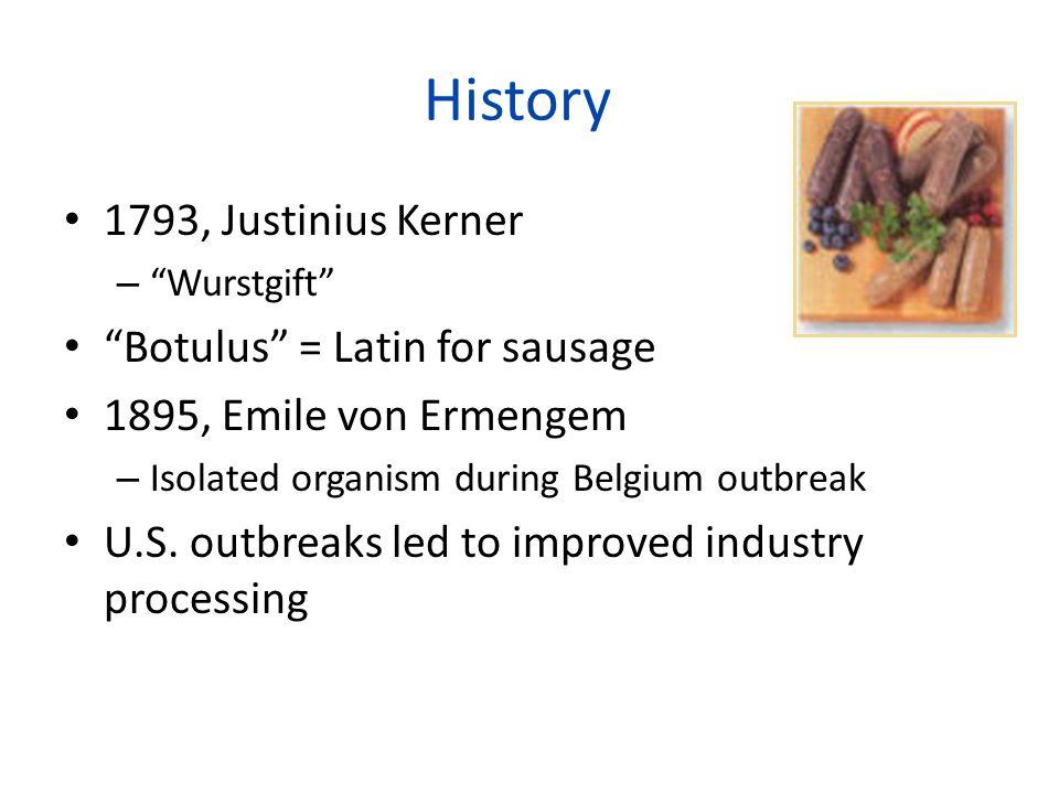 """1793, Justinius Kerner – """"Wurstgift"""" """"Botulus"""" = Latin for sausage 1895, Emile von Ermengem – Isolated organism during Belgium outbreak U.S. outbreaks"""