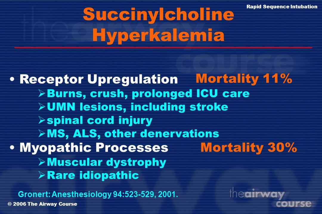 © 2006 The Airway Course Rapid Sequence Intubation Succinylcholine has one very, very lethal side effect… Fatal Hyperkalemia Succinylcholine is a univ