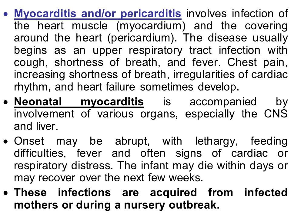  Myocarditis and/or pericarditis involves infection of the heart muscle (myocardium) and the covering around the heart (pericardium). The disease usu