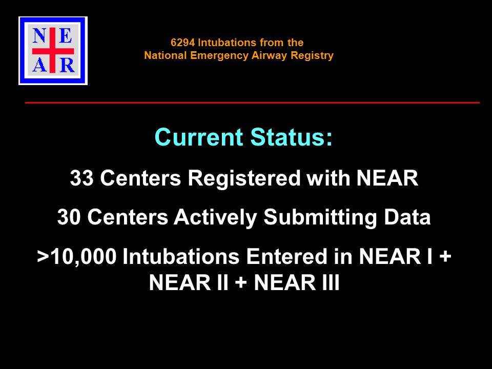 Current Status: 33 Centers Registered with NEAR 30 Centers Actively Submitting Data >10,000 Intubations Entered in NEAR I + NEAR II + NEAR III 6294 Intubations from the National Emergency Airway Registry