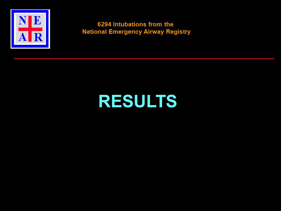 RESULTS 6294 Intubations from the National Emergency Airway Registry