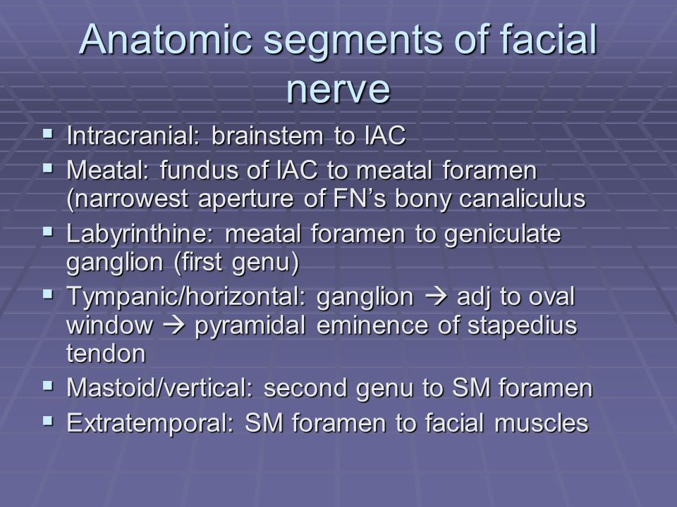 Anatomic segments of facial nerve  Intracranial: brainstem to IAC  Meatal: fundus of IAC to meatal foramen (narrowest aperture of FN's bony canaliculus  Labyrinthine: meatal foramen to geniculate ganglion (first genu)  Tympanic/horizontal: ganglion  adj to oval window  pyramidal eminence of stapedius tendon  Mastoid/vertical: second genu to SM foramen  Extratemporal: SM foramen to facial muscles