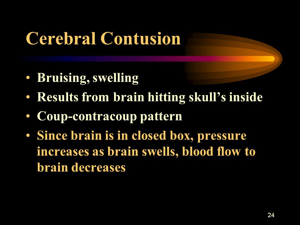 24 Cerebral Contusion Bruising, swelling Results from brain hitting skull's inside Coup-contracoup pattern Since brain is in closed box, pressure incr