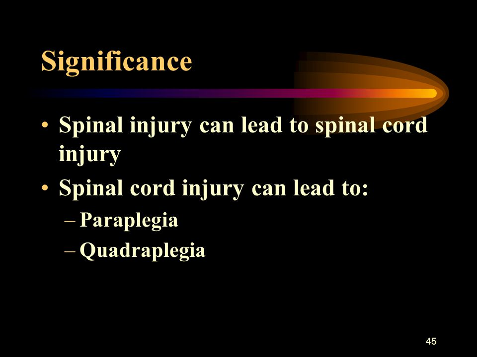 45 Significance Spinal injury can lead to spinal cord injury Spinal cord injury can lead to: –Paraplegia –Quadraplegia