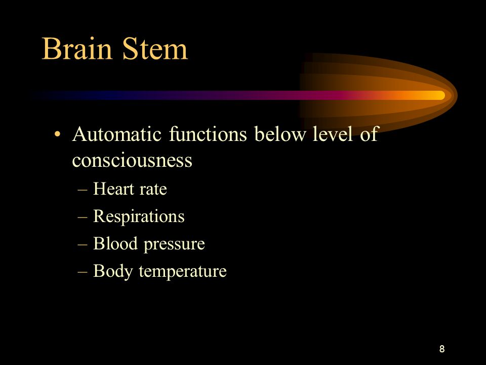 8 Brain Stem Automatic functions below level of consciousness –Heart rate –Respirations –Blood pressure –Body temperature