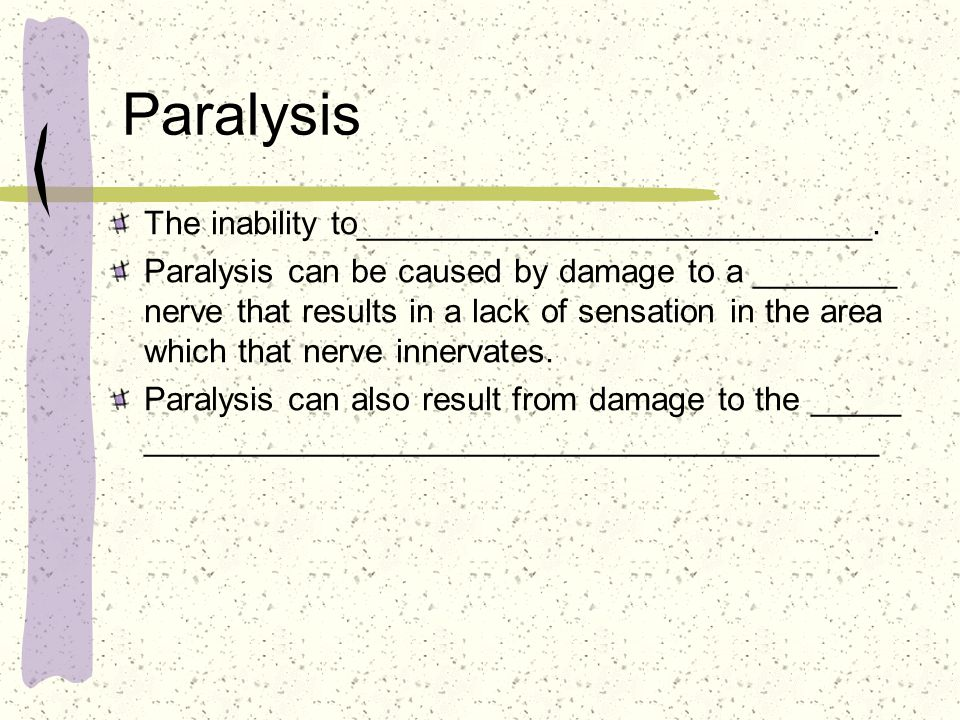 Paralysis The inability to____________________________.