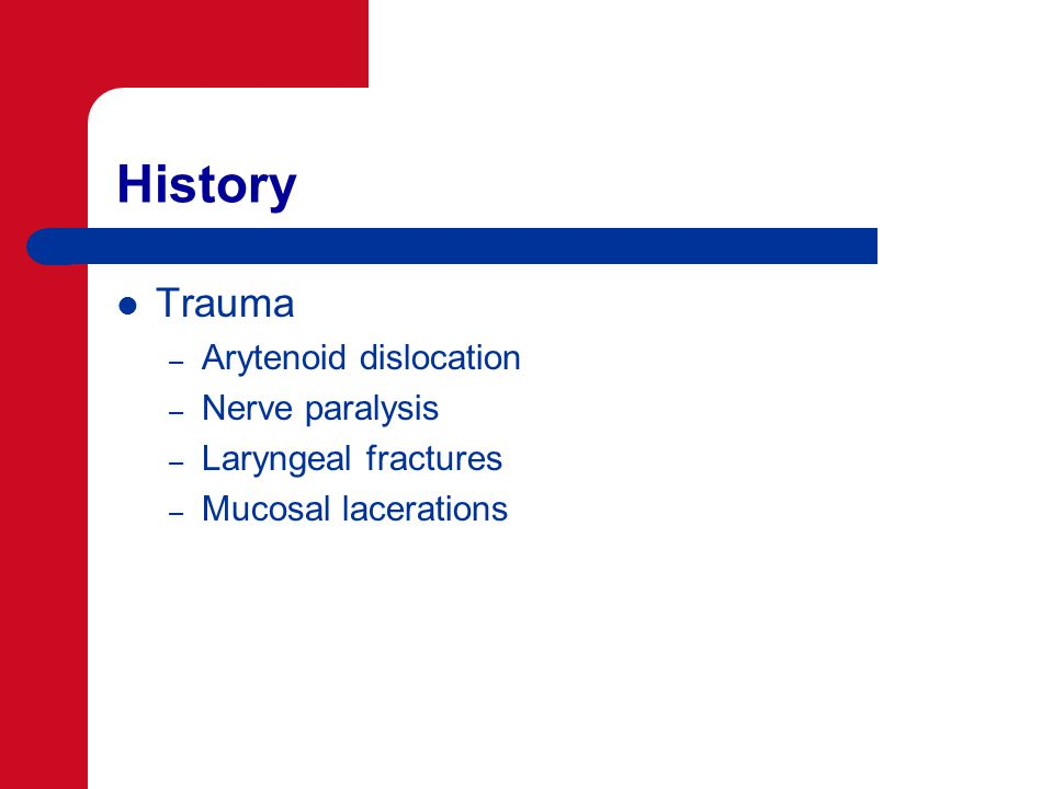 History Trauma – Arytenoid dislocation – Nerve paralysis – Laryngeal fractures – Mucosal lacerations