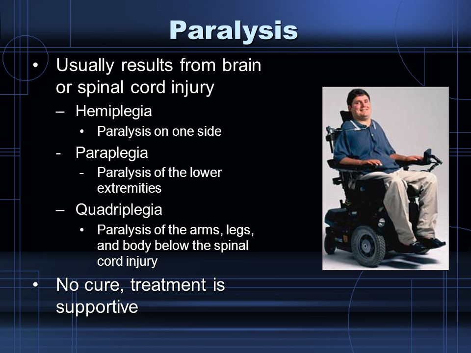 Paralysis Usually results from brain or spinal cord injuryUsually results from brain or spinal cord injury –Hemiplegia Paralysis on one sideParalysis on one side -Paraplegia -Paralysis of the lower extremities –Quadriplegia Paralysis of the arms, legs, and body below the spinal cord injuryParalysis of the arms, legs, and body below the spinal cord injury No cure, treatment is supportiveNo cure, treatment is supportive