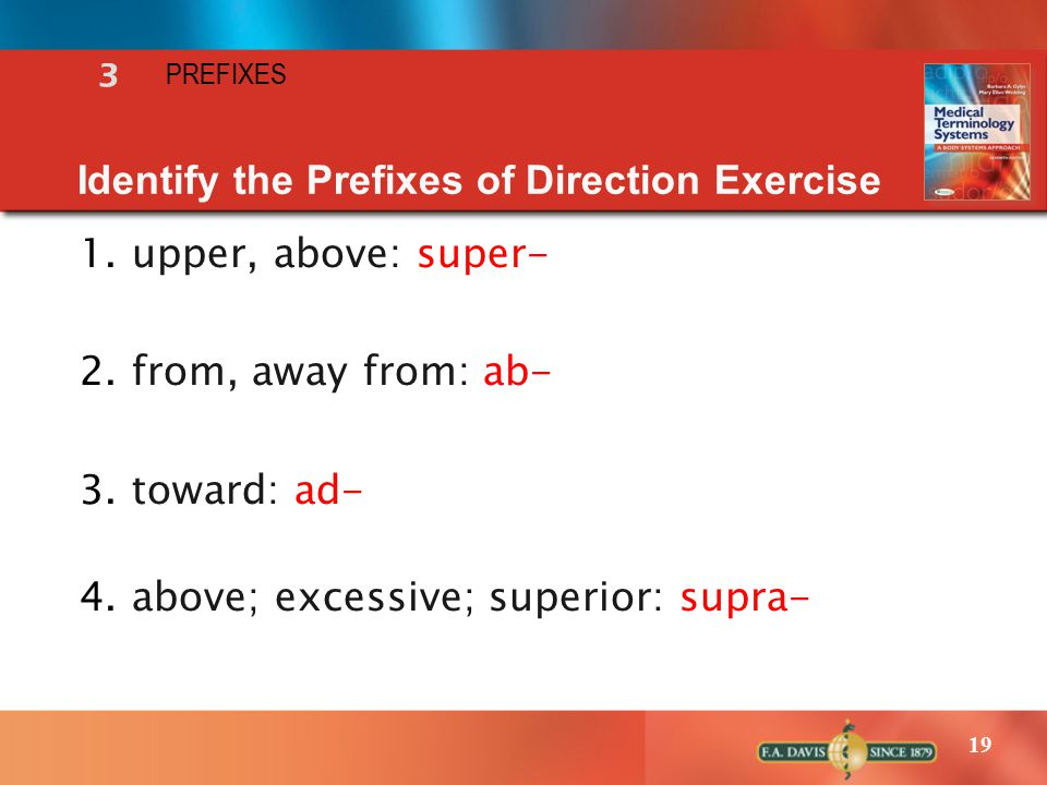 19 1.upper, above: super- 2.from, away from: ab- 3.toward: ad- 4.above; excessive; superior: supra- Identify the Prefixes of Direction Exercise 3 PREFIXES