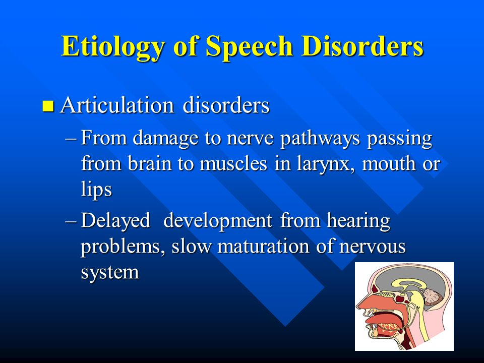 Etiology of Speech Disorders Articulation disorders Articulation disorders –From damage to nerve pathways passing from brain to muscles in larynx, mouth or lips –Delayed development from hearing problems, slow maturation of nervous system