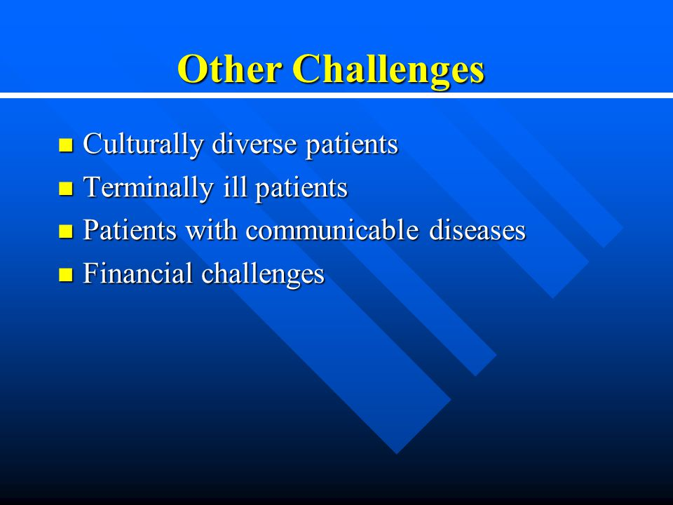 Other Challenges Culturally diverse patients Culturally diverse patients Terminally ill patients Terminally ill patients Patients with communicable diseases Patients with communicable diseases Financial challenges Financial challenges