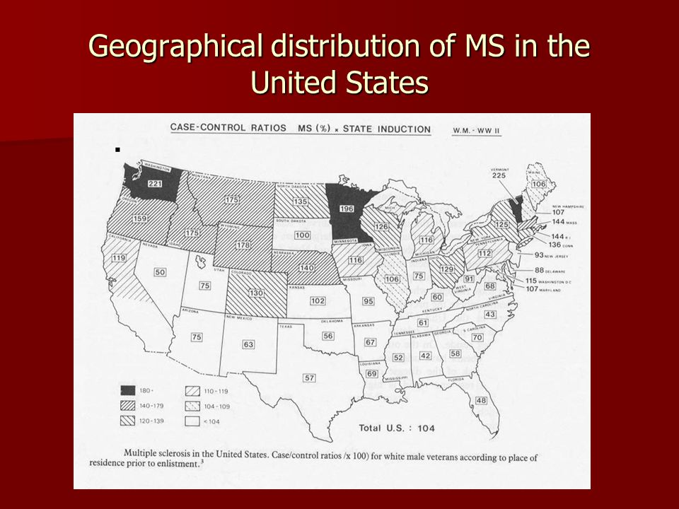 Geographical distribution of MS in the United States