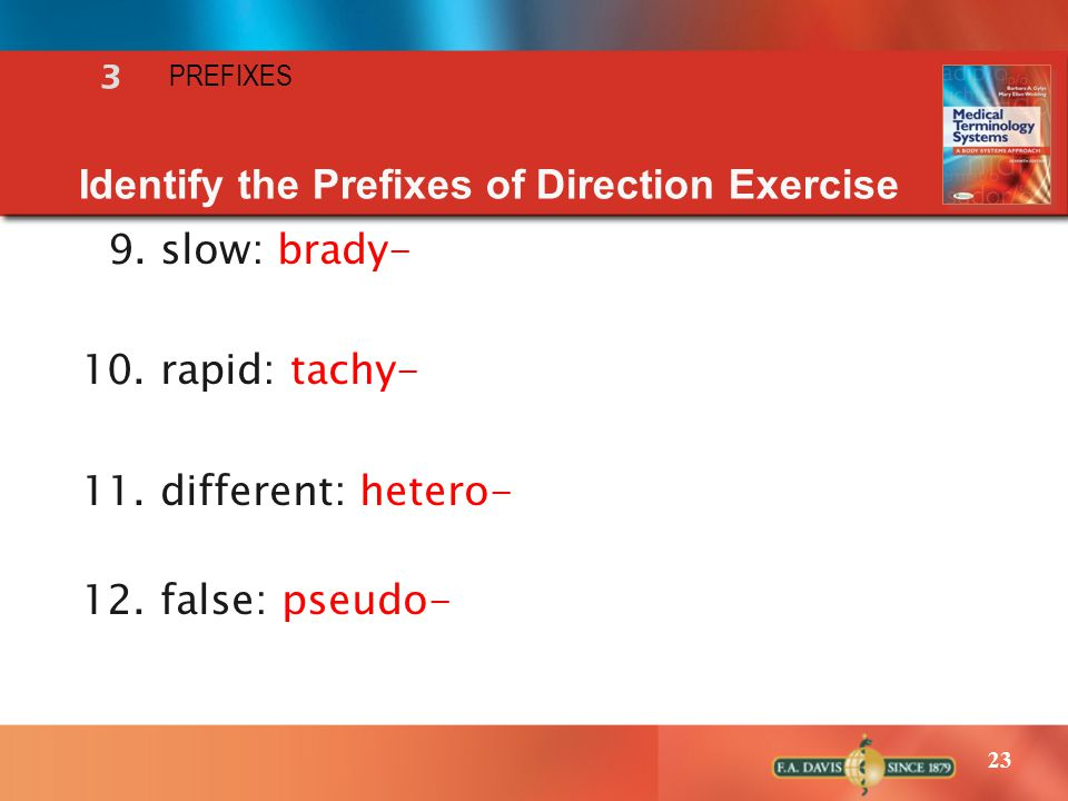 23 Identify the Prefixes of Direction Exercise 9. slow: brady- 10. rapid: tachy- 11. different: hetero- 12. false: pseudo- 3 PREFIXES