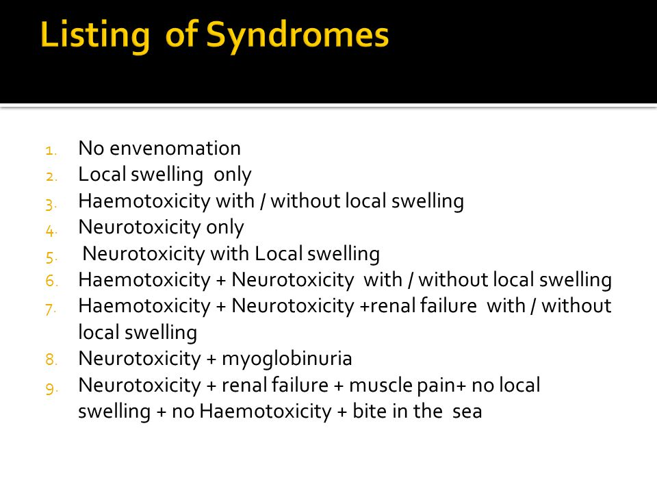 1. No envenomation 2. Local swelling only 3. Haemotoxicity with / without local swelling 4.