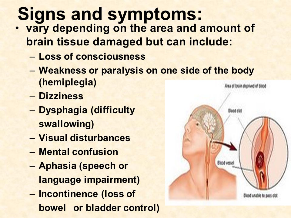 Signs and symptoms: vary depending on the area and amount of brain tissue damaged but can include: –Loss of consciousness –Weakness or paralysis on on