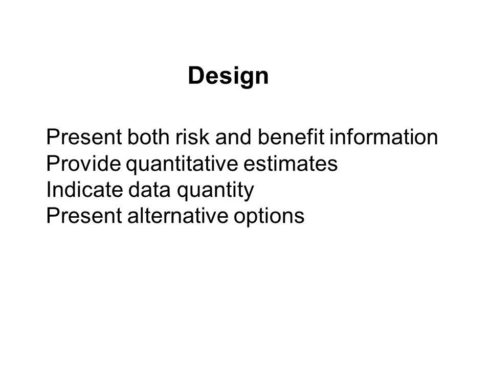 Present both risk and benefit information Provide quantitative estimates Indicate data quantity Present alternative options Design