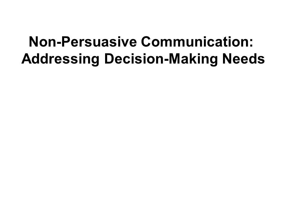Non-Persuasive Communication: Addressing Decision-Making Needs