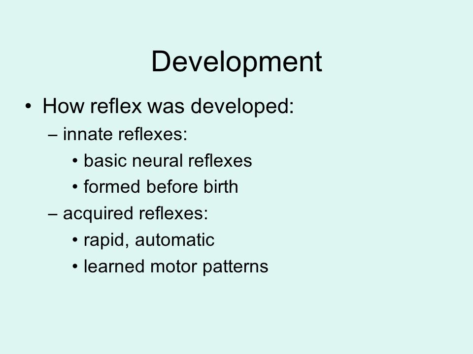 Development How reflex was developed: –innate reflexes: basic neural reflexes formed before birth –acquired reflexes: rapid, automatic learned motor p