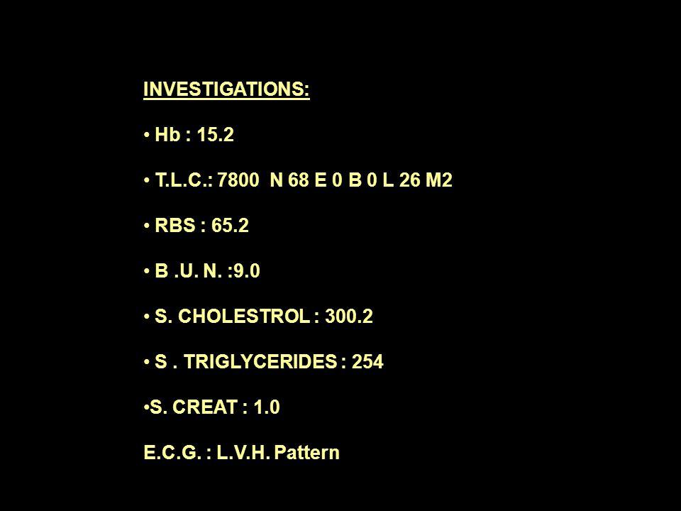 INVESTIGATIONS: Hb : 15.2 T.L.C.: 7800 N 68 E 0 B 0 L 26 M2 RBS : 65.2 B.U.