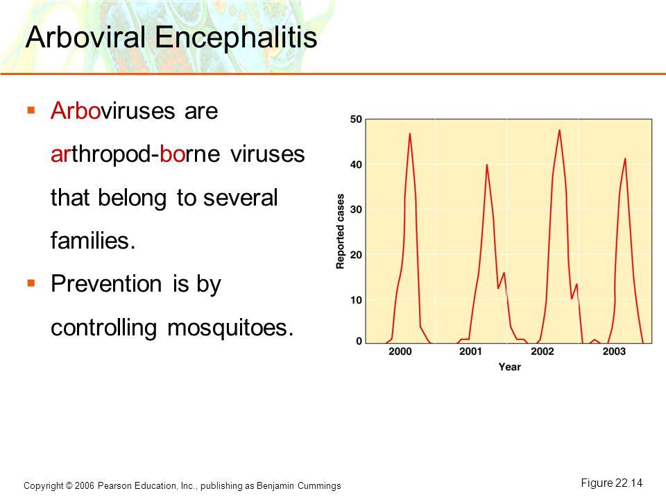 Copyright © 2006 Pearson Education, Inc., publishing as Benjamin Cummings Arboviral Encephalitis  Arboviruses are arthropod-borne viruses that belong to several families.