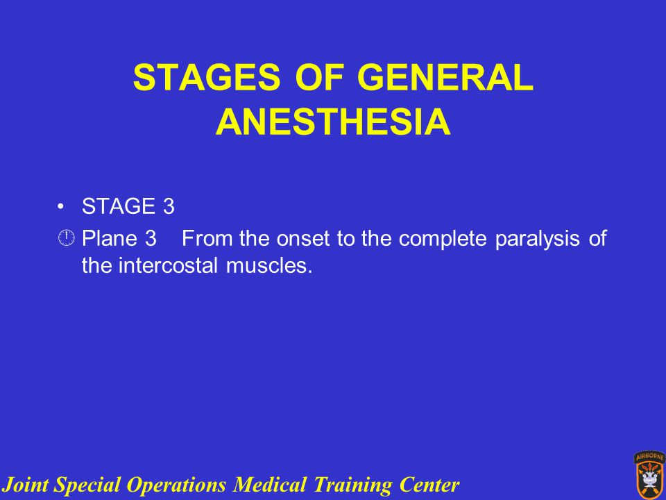 Joint Special Operations Medical Training Center ANESTHESIA OVERVIEW STAGES OF GENERAL ANESTHESIA STAGE 3 ÂPlane 3 From the onset to the complete paralysis of the intercostal muscles.